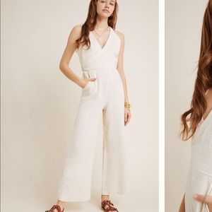 Anthropologie Demi Textured Jumpsuit ivory size 0